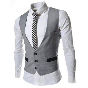 Hit Color Stereo Pocket Single-Breasted V-Neck Sleeveless Men's Waistcoat