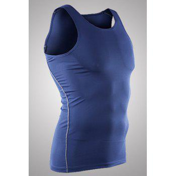Slim Fit Dry Fit Pullover Solid Color Tank Top For Men - BLUE M