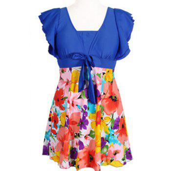 Refreshing Square Neck Butterfly Sleeve Floral Print One-Piece Women's Swimwear - BRIGHT BLUE 5XL