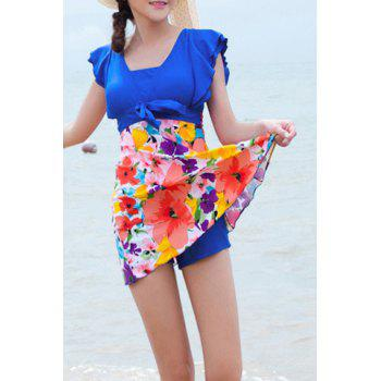 Refreshing Square Neck Butterfly Sleeve Floral Print One-Piece Women's Swimwear