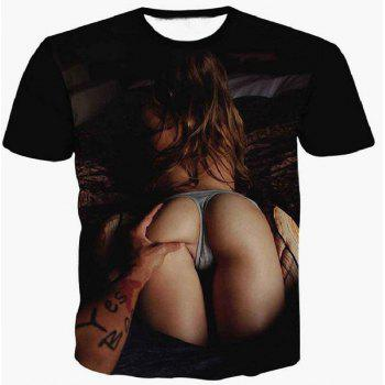 3D Sexy Girl's Arse Printed Round Neck Short Sleeve Men's T-Shirt