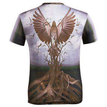 3D Eagle and Bole Printed Round Neck Short Sleeve Men's T-Shirt - COLORMIX M