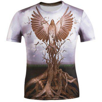 3D Eagle and Bole Printed Round Neck Short Sleeve Men's T-Shirt