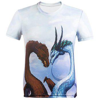 3D Cartoon Dragons Printed Round Neck Short Sleeve Men's T-Shirt