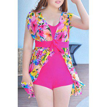 Graceful Plunging Neck One-Piece Floral Print Asymmetrical Women's Swimwear - ROSE 5XL