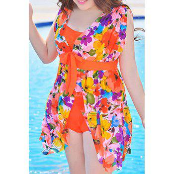 Graceful Plunging Neck One-Piece Floral Print Asymmetrical Women's Swimwear - JACINTH 2XL