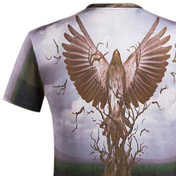 3D Eagle and Bole Printed Round Neck Short Sleeve Men's T-Shirt - COLORMIX 2XL