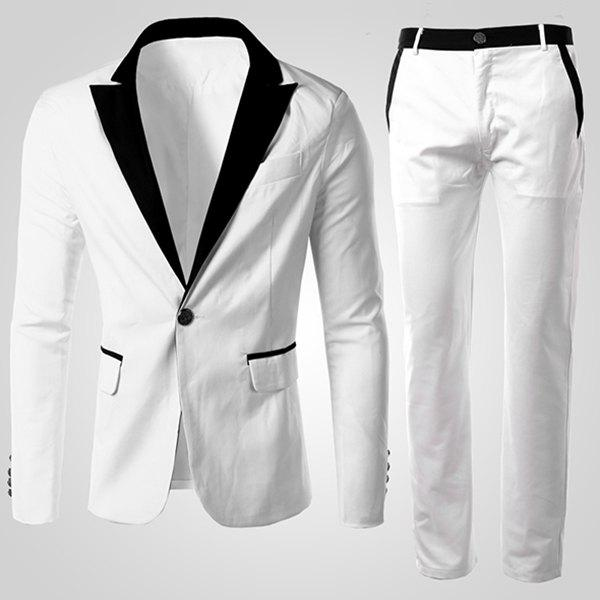 Men's Long Sleeves Single Button Color Block Suit (Blazer+Pants) - WHITE M