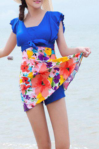 Refreshing Square Neck Butterfly Sleeve Floral Print One-Piece Women's Swimwear green floral print square neck one piece swimwear