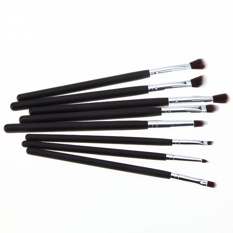 Cosmetic 8 Pcs Classic Fiber Eye Makeup Brushes Set - BLACK