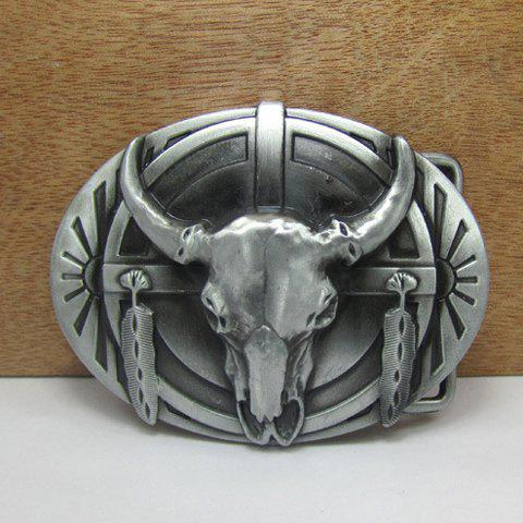 Stylish Ox Head Shape Embellished Gun Metal Belt Buckle For Men