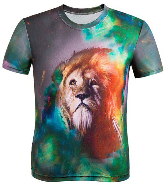3D Lion Print Color Block Round Neck Short Sleeve Men's T-Shirt - COLORMIX 2XL