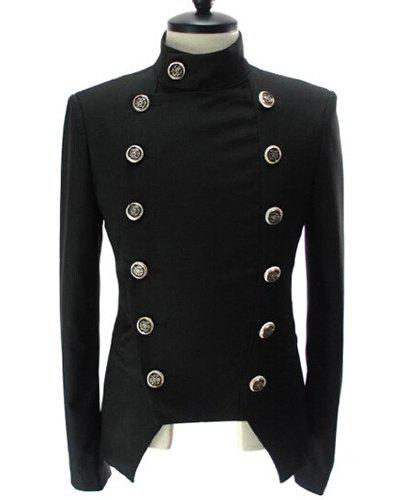 Inclined Front Fly Multi-Button Turn-down Collar Long Sleeves Men's Jacket - BLACK XL