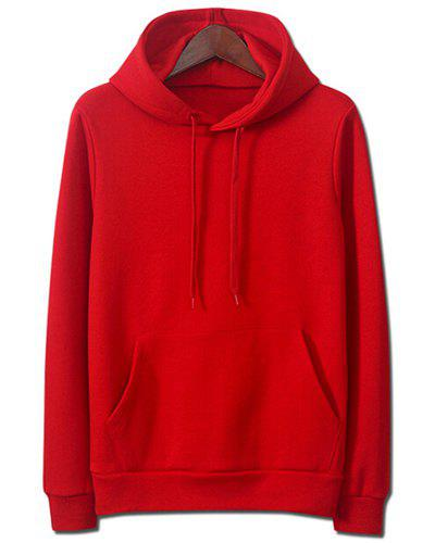 Drawstring Hooded Front Pocket Solid Color Men's Long Sleeves Hoodie - RED 2XL