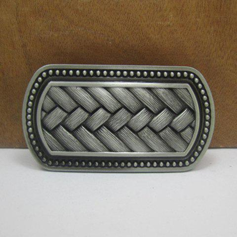 Stylish Weaving Shape Embellished Alloy Belt Buckle For Men - GUN METAL