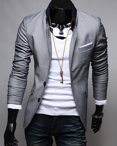 Single-Breasted Color Block Patch Pocket Lapel Long Sleeves Men's Blazer - GRAY L