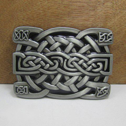 Stylish Weaving Knotted Shape Alloy Belt Buckle For Men - GUN METAL
