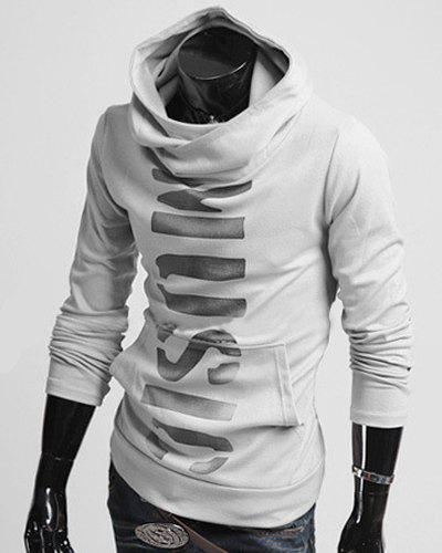 Classic Letters Pattern Front Pocket Fitted Hooded Long Sleeves Men's Hoodie vogue letters pattern front pocket fitted hooded long sleeves hoodie for men