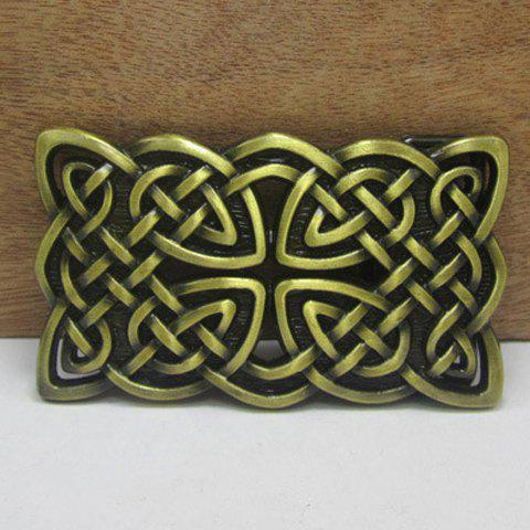 Stylish Hollow Out Weaving Twine Shape Bronze Alloy Belt Buckle For Men - BRONZE