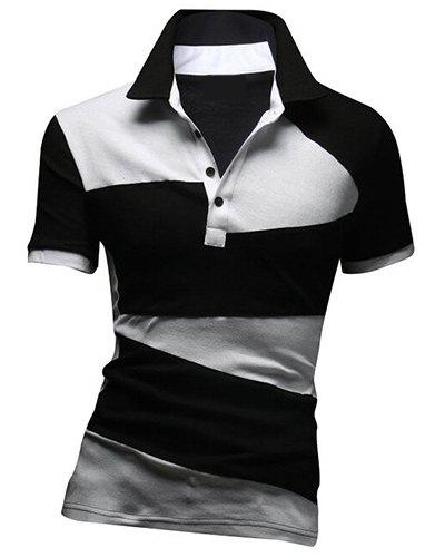 Fashion Turn-down Collar Color Lump Splicing Short Sleeves Men's Polo T-Shirt - BLACK M