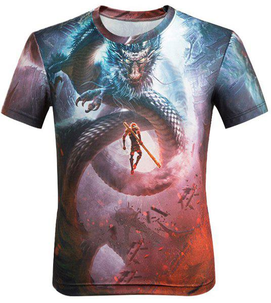 3D Cartoon Dragon and Figure Printed Round Neck Short Sleeve Men's T-Shirt - COLORMIX M