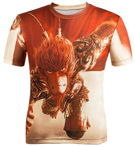 3D Cartoon The Monkey King Figure Printed Round Neck Short Sleeve T-Shirt For Men