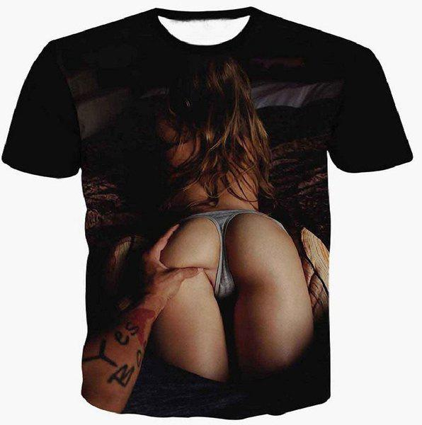 3D Sexy Girl's Arse Printed Round Neck Short Sleeve Men's T-Shirt - BLACK M