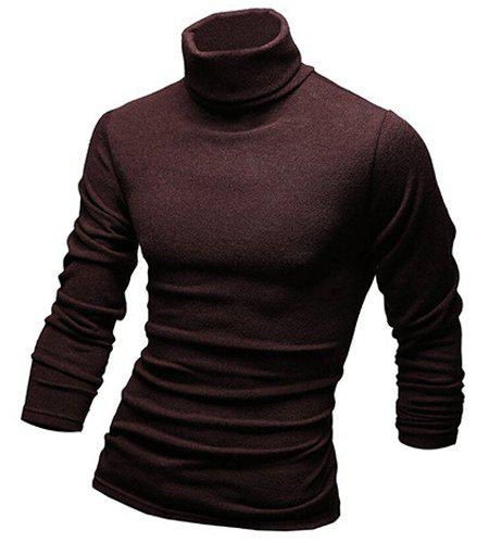 Laconic Solid Color Long Sleeves Turtleneck Men's T-Shirt - COFFEE L