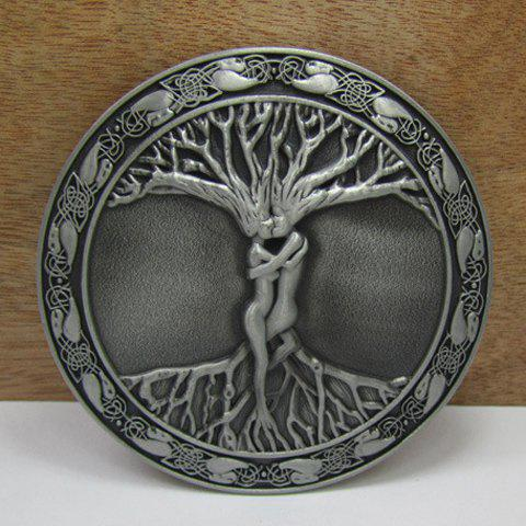 Stylish Tree Root Shape Embellished Rounded Alloy Belt Buckle For Men - GUN METAL