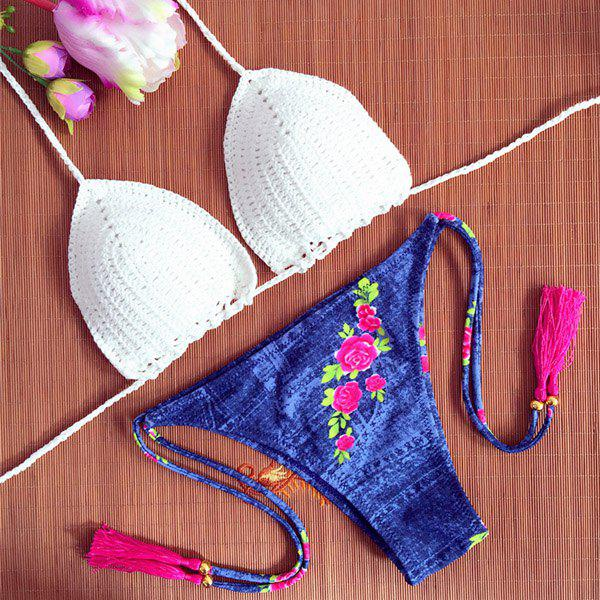 Chic White Crochet Bra and Floral Print Denim Briefs Bikini Set For Women - WHITE S