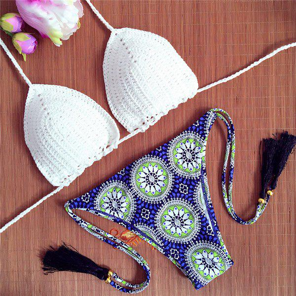 Vintage Crochet Halter Printed Bikini Set For Women - WHITE S