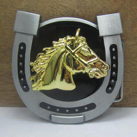 Stylish Horse Head and Horseshoe Shape Design Alloy Belt Buckle For Men - GOLDEN