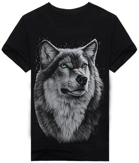 91eb14e77 Hot Sale Round Neck 3D Animal Wolf Print Short Sleeves Men's Black T-Shirt -