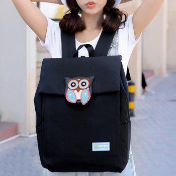 Cute Owl Pattern and Cover Design Women's Satchel - BLACK