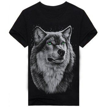 Hot Sale Round Neck 3D Animal Wolf Print Short Sleeves Men's Black T-Shirt