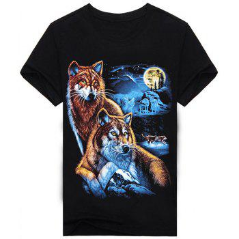 Vogue Round Neck 3D Animal Wolf and Moon Print Short Sleeves Men's Black T-Shirt