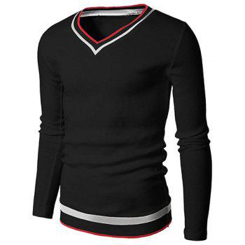 Modern Style V-Neck Rib Spliced Stripes Pattern Men's Long Sleeves T-Shirt
