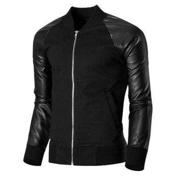 Stand Collar Long Sleeves Jacket - BLACK L