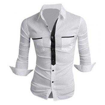Classic Color Block Button Fly Double Pockets Shirt Collar Long Sleeves Men's Shirt