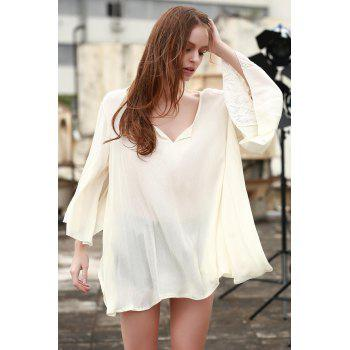 Casual Style V-Neck Lace Splicing Solid Color Long Sleeve Dress For Women