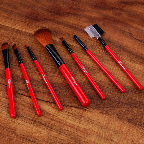 Cosmetic 7 Pcs All-Round Fiber Makeup Brushes Set - RED