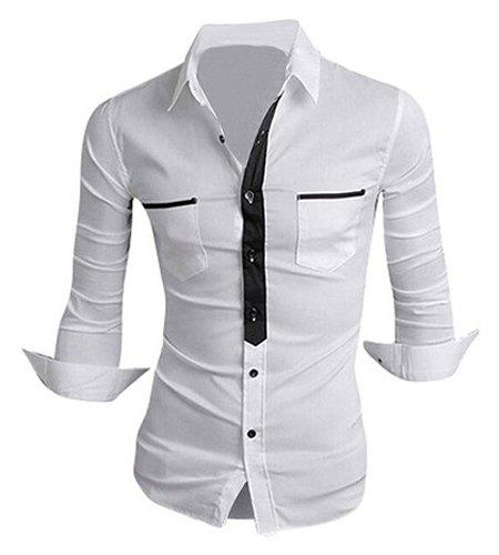 Classic Color Block Button Fly Double Pockets Shirt Collar Long Sleeves Men's Shirt - WHITE M