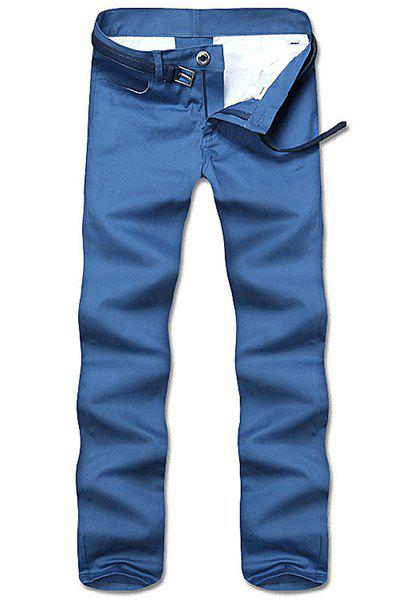 Simple Style Straight Leg Solid Color Zipper Fly Men's Nine Minutes Of Pants - BLUE 30