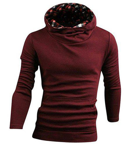 Laconic Hooded Front Pocket Solid Color Men's Long Sleeves Hoodie - RED M