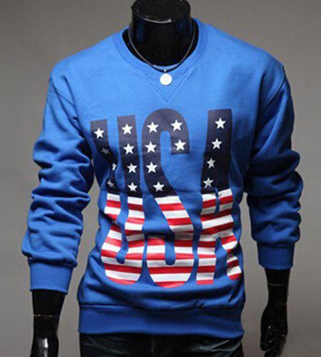 Stylish Round Neck Stripes Star Letters Pattern Men's Long Sleeves Sweatshirt - BLUE 2XL