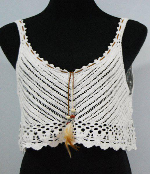 Sweet Solid Color Spaghetti Strap Hollow Out Women's Tank Top - WHITE ONE SIZE(FIT SIZE XS TO M)