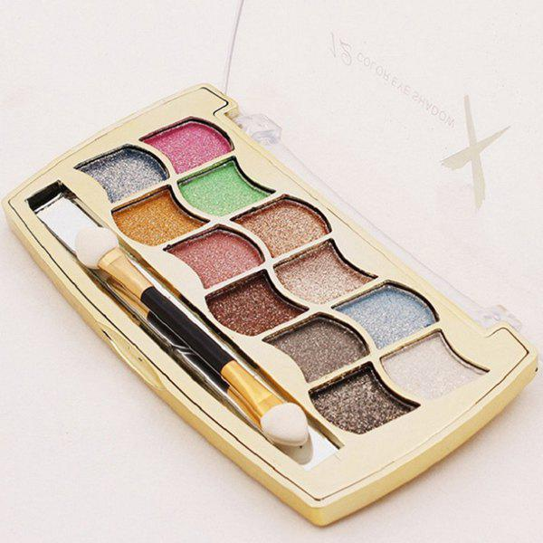 Cosmetic 12 Colours Long Lasting Diamond Eyeshadow Palette with Mirror and Brush -