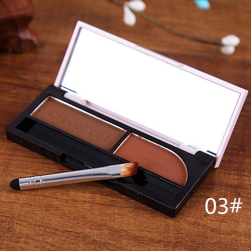 Cosmetic 2 Colours Waterproof Dry and Wet Eyebrow Powder Palette with Mirror and Brush - 3