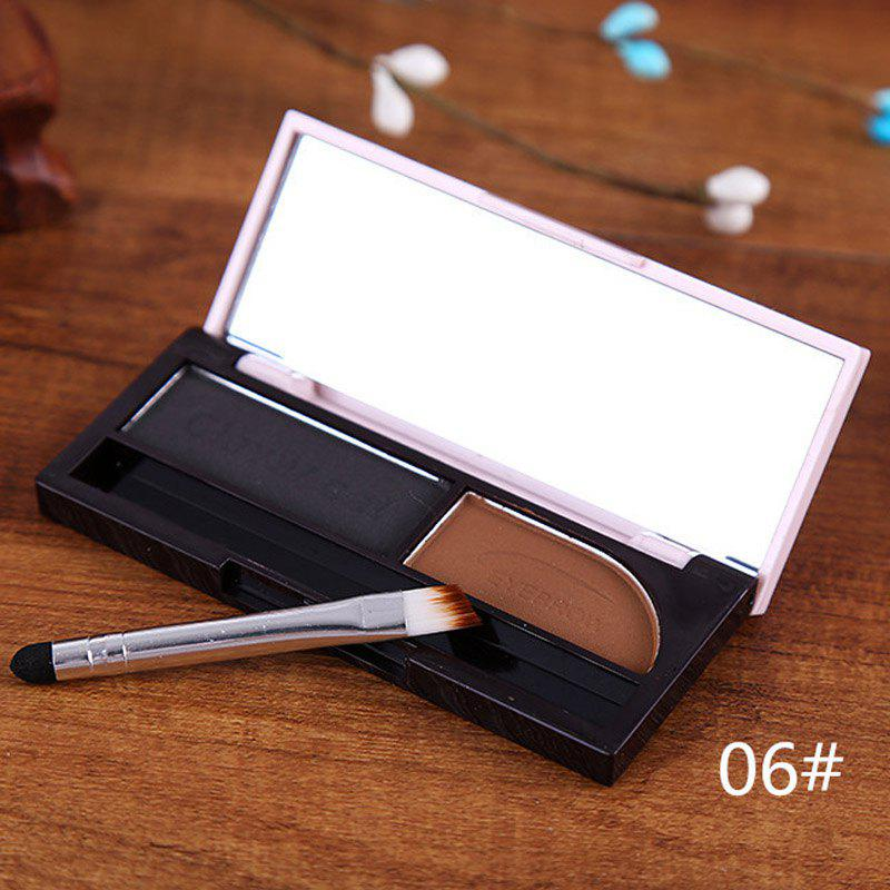 Cosmetic 2 Colours Waterproof Dry and Wet Eyebrow Powder Palette with Mirror and Brush
