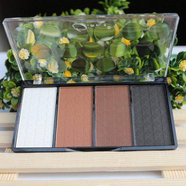 Cosmetic 4 Colours Shadow Highlight Concealer Pressed Powder Palette - 2